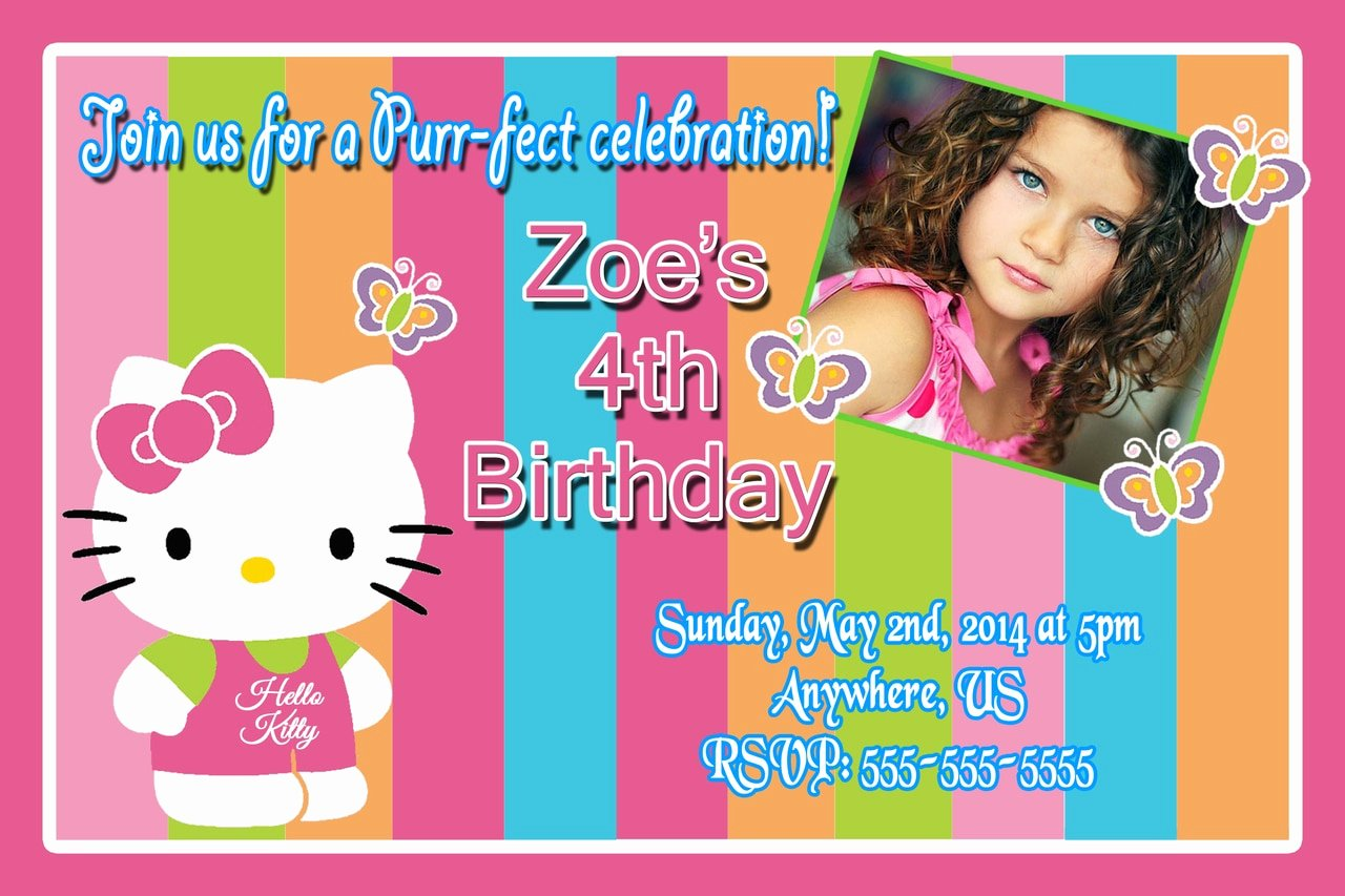 Hello Kitty Birthday Invitations Awesome Hello Kitty Rainbow Birthday Invitations