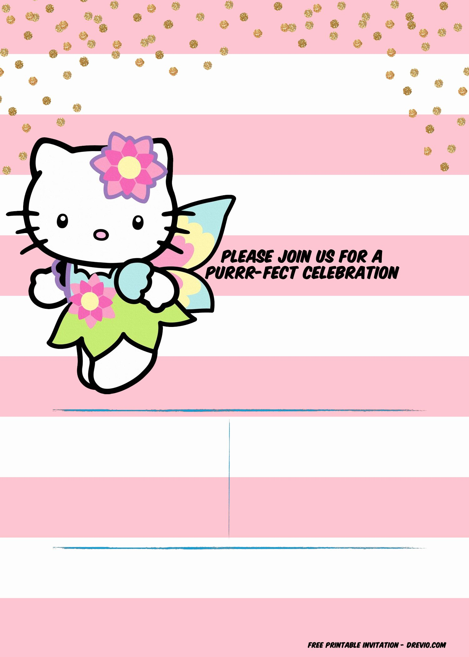 Hello Kitty Birthday Invitations Beautiful Hello Kitty Invitation Template – Portrait Mode