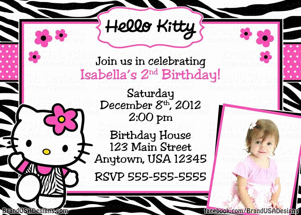 Hello Kitty Birthday Invitations Elegant Hello Kitty Birthday Invitation Card