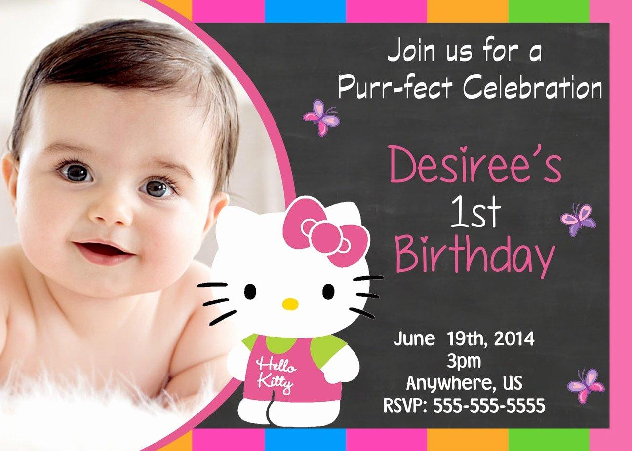 Hello Kitty Birthday Invitations Fresh Chalkboard Hello Kitty Birthday Invitations