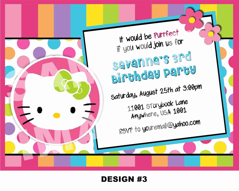 Hello Kitty Birthday Invitations Fresh Hello Kitty Invitation Hello Kitty Birthday Invitations