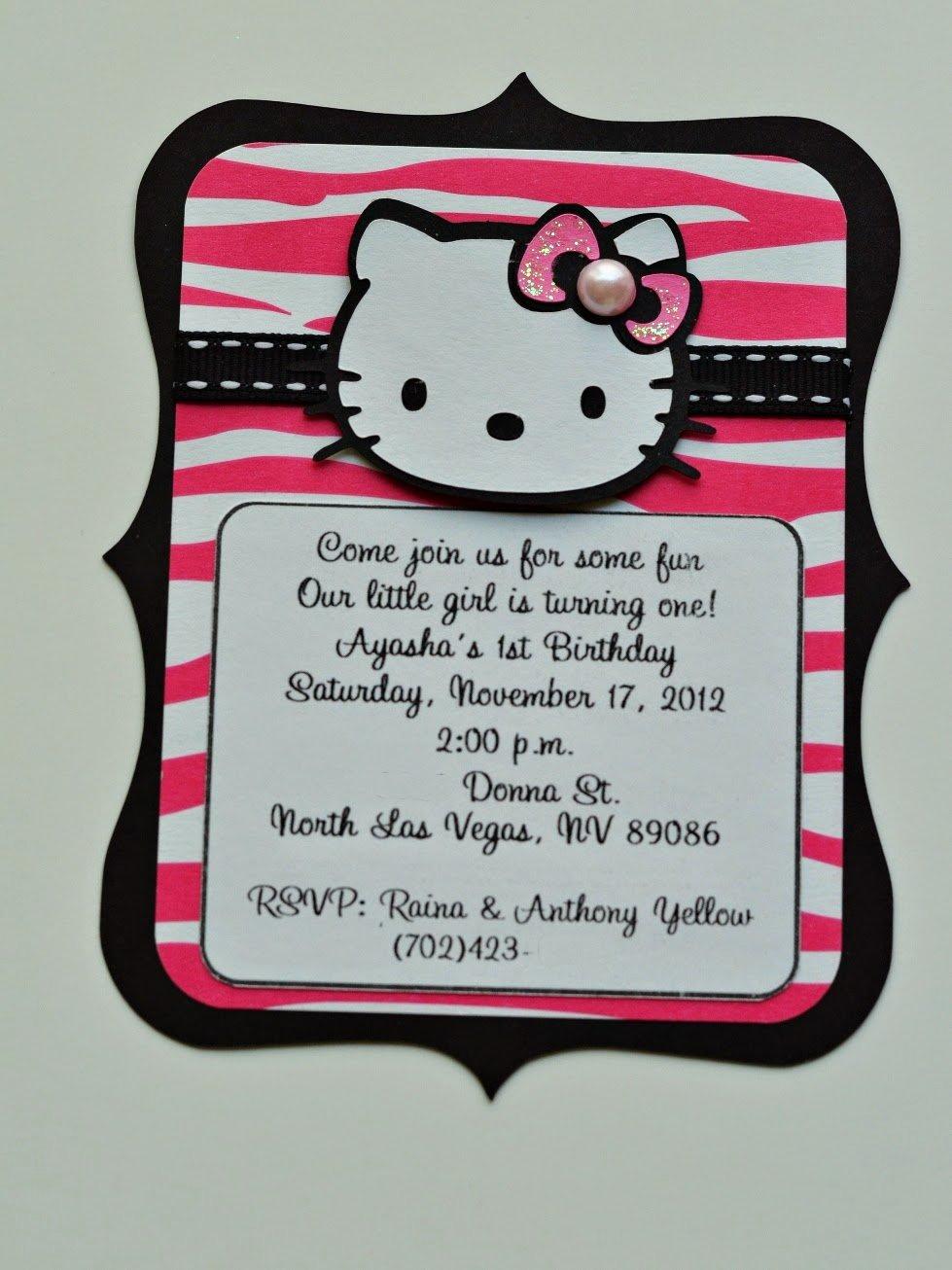 Hello Kitty Birthday Invitations Fresh Jingvitations Hello Kitty Zebra Hot Pink and Black