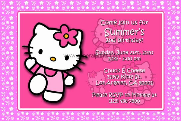Hello Kitty Birthday Invitations Inspirational Hello Kitty Birthday Invitations