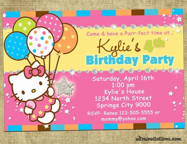 Hello Kitty Birthday Invitations Unique Hello Kitty Printable Birthday Invitations Template