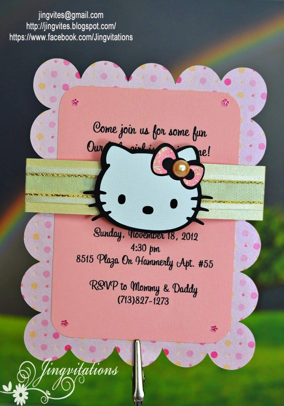 Hello Kitty Birthday Invitations Unique Jingvitations November 2012