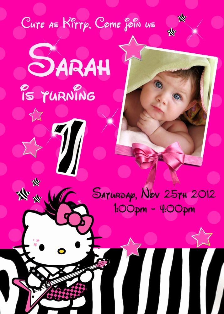 Hello Kitty Birthday Invites Awesome Hello Kitty Zebra Personalized Birthday Invitation