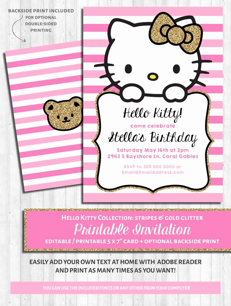 Hello Kitty Birthday Invites Beautiful 25 Best Ideas About Hello Kitty Invitations On Pinterest