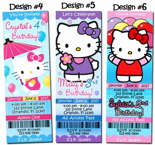 Hello Kitty Birthday Invites Beautiful Hello Kitty Birthday Party Invitations Ticket Custom