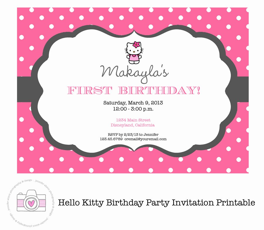 Hello Kitty Birthday Invites Luxury Hello Kitty Printable Birthday Invitations Template