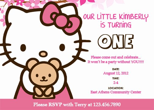 Hello Kitty Birthday Invites New Free Personalized Hello Kitty Birthday Invitations