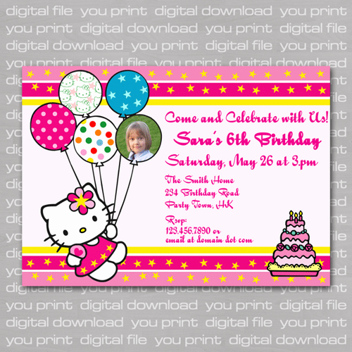 Hello Kitty Invitation Card Awesome Helli Kitty Birthday Invitation Card