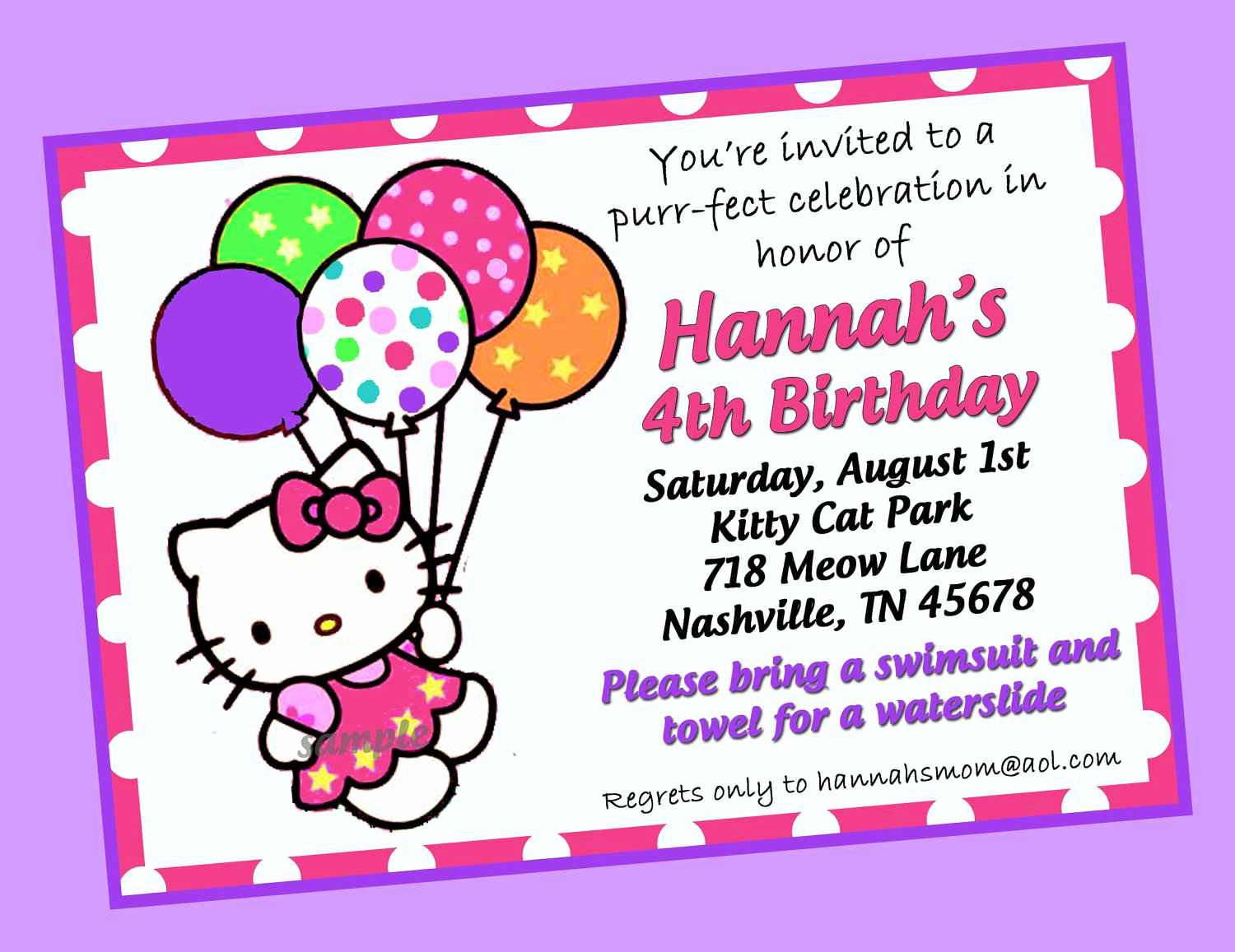 Hello Kitty Invitation Card Awesome Hello Kitty Birthday Invitation Card