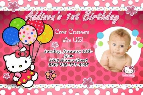 Hello Kitty Invitation Card Beautiful Hello Kitty Birthday Party Invitation 1st Custom Baby