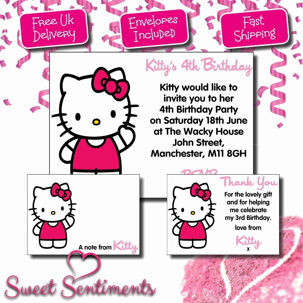 Hello Kitty Invitation Card Beautiful Personalised Hello Kitty Birthday Party Invitation Thank