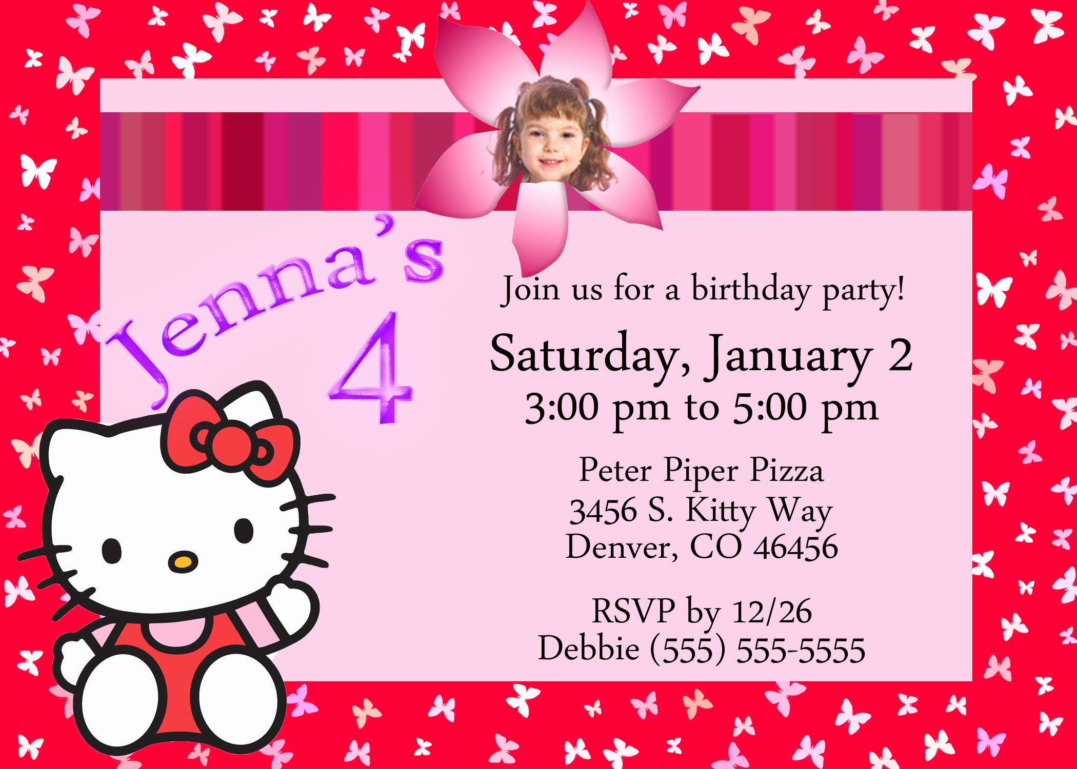 Hello Kitty Invitation Card Lovely Hello Kitty Birthday Invitation