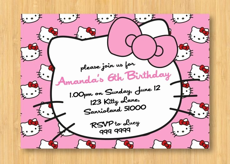 Hello Kitty Invitation Card Lovely Hello Kitty Birthday Invitations Printable Free