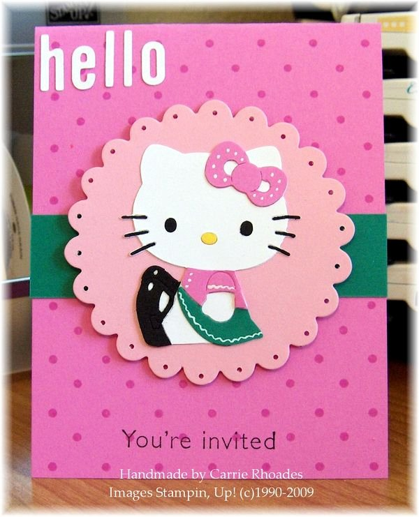 Hello Kitty Invitation Card Lovely Hello Kitty Invite Carrie Stamps