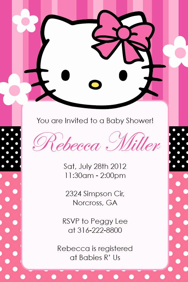 Hello Kitty Invitation Card Luxury Hello Kitty Girl Birthday Party or Baby Shower Custom