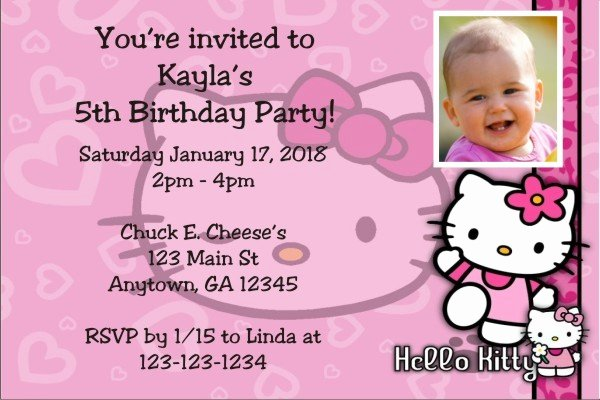 Hello Kitty Invitation Card Luxury Hello Kitty Invitations Personalized Party Invites
