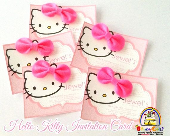 Hello Kitty Invitation Card Unique Hello Kitty Invitation Card with Bow On Etsy $16 00