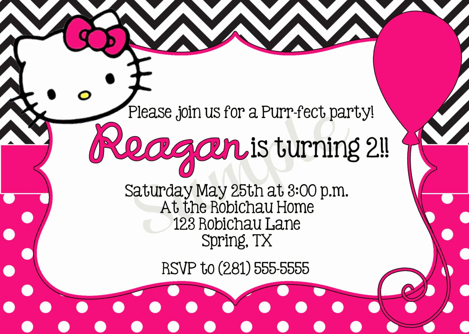 Hello Kitty Invitation Template Awesome Hello Kitty Printable Birthday Invitations