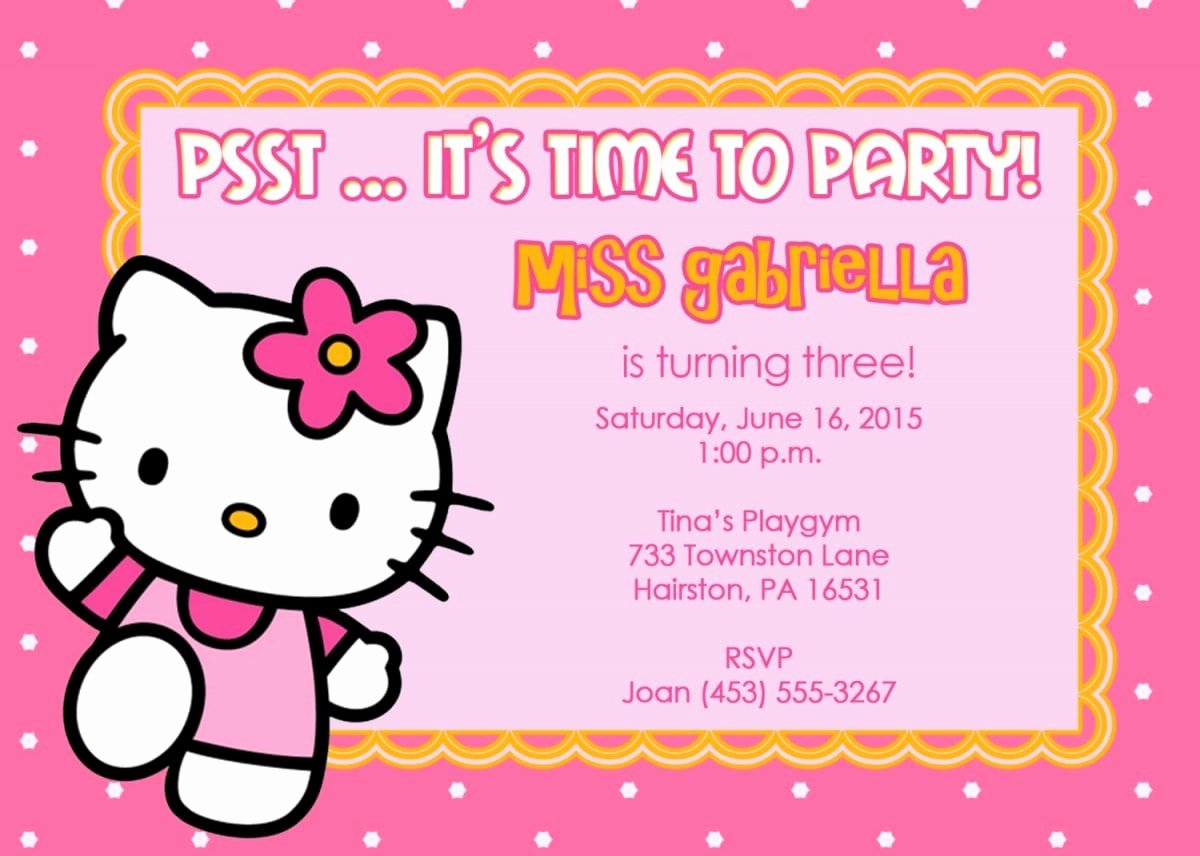 Hello Kitty Invitation Template Inspirational 40th Birthday Ideas Hello Kitty Birthday Invitation