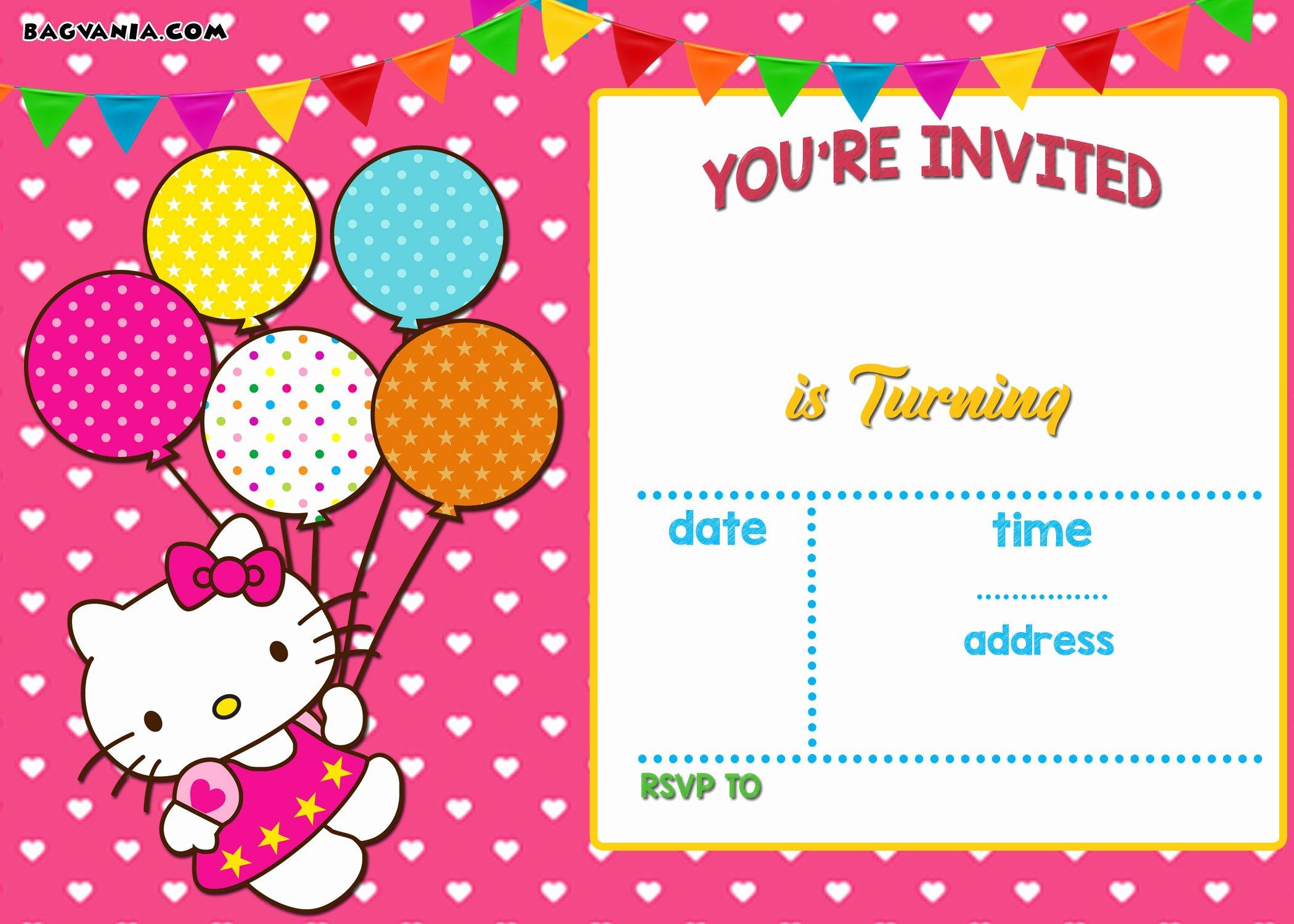 Hello Kitty Invitation Template Inspirational Free Printable Hello Kitty Invitation Templates theme