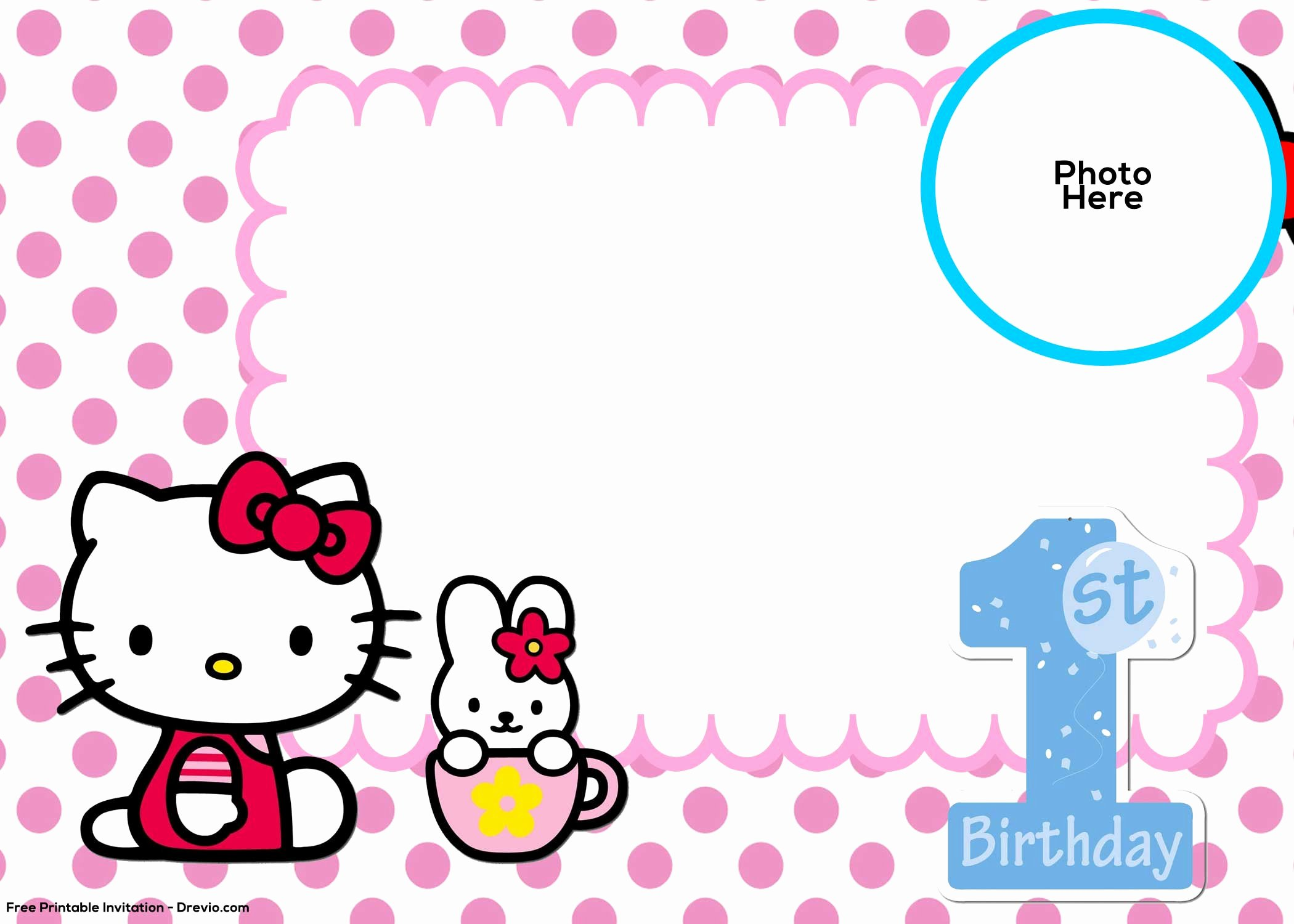 Hello Kitty Invitation Template New Free Hello Kitty 1st Birthday Invitation Template