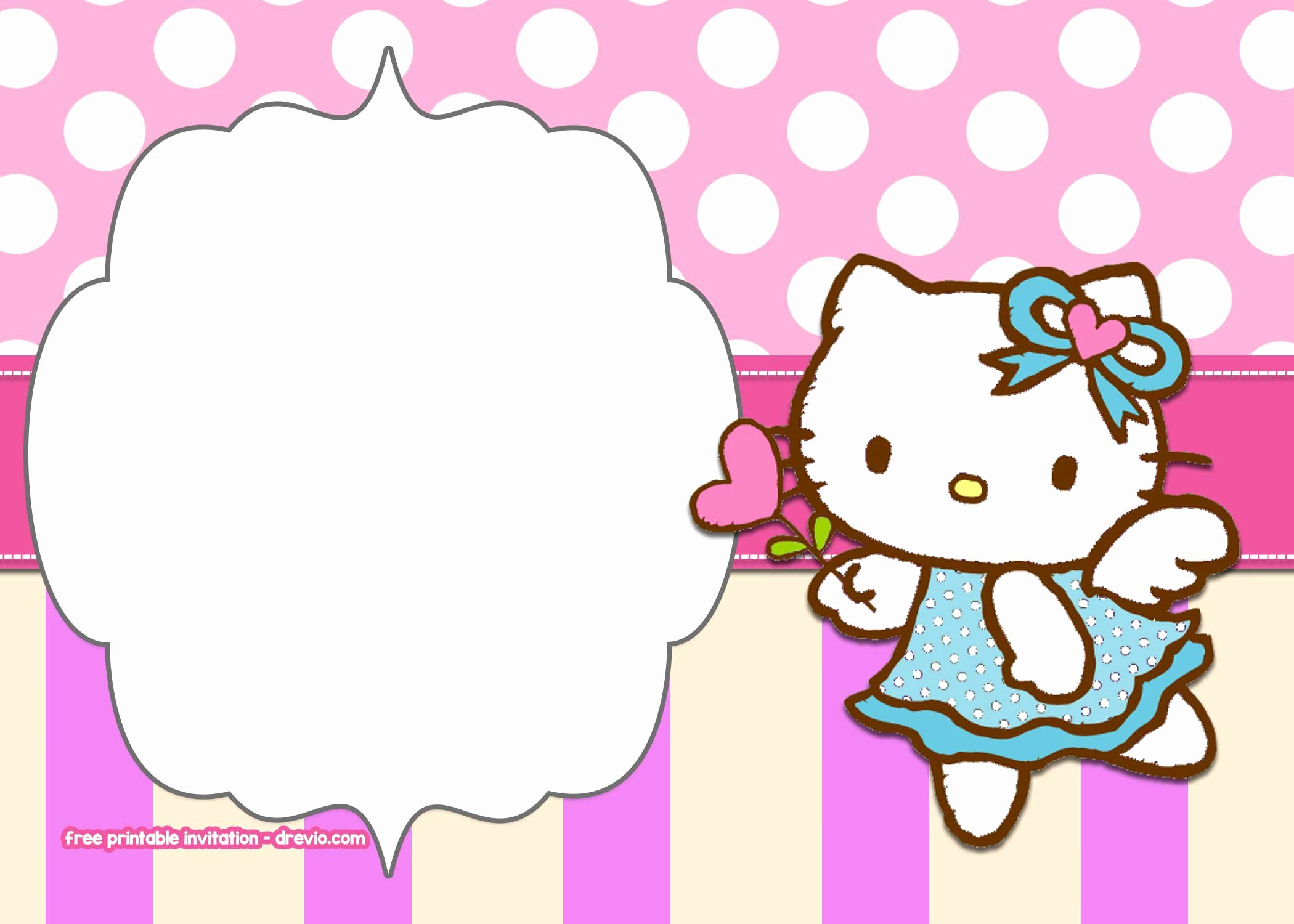 Hello Kitty Invitation Template Unique Free Printable Hello Kitty Pink Polka Dot Invitation