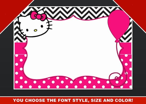 Hello Kitty Invitation Templates Elegant Editable Hello Kitty Birthday Template Invitation