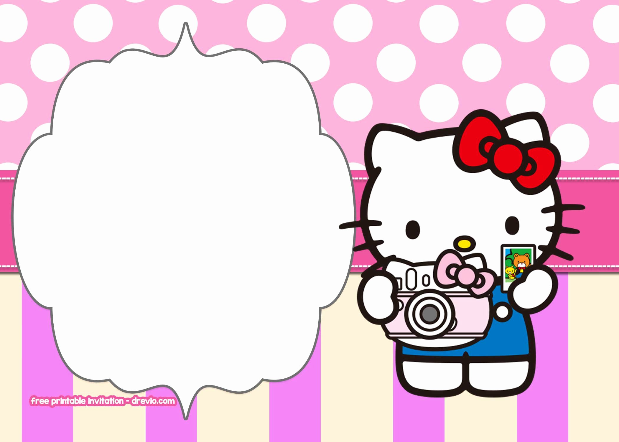 Hello Kitty Invitation Templates Elegant Free Printable Hello Kitty Pink Polka Dot Invitation