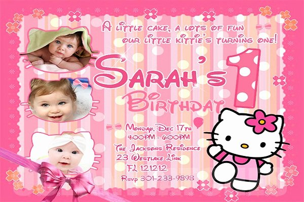 Hello Kitty Invitation Templates Elegant Hello Kitty Birthday Invitation 365greetings