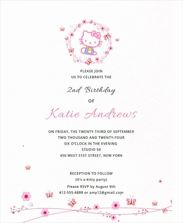 Hello Kitty Invitation Templates Lovely 13 Kitty Party Invitation Designs & Templates Psd Ai