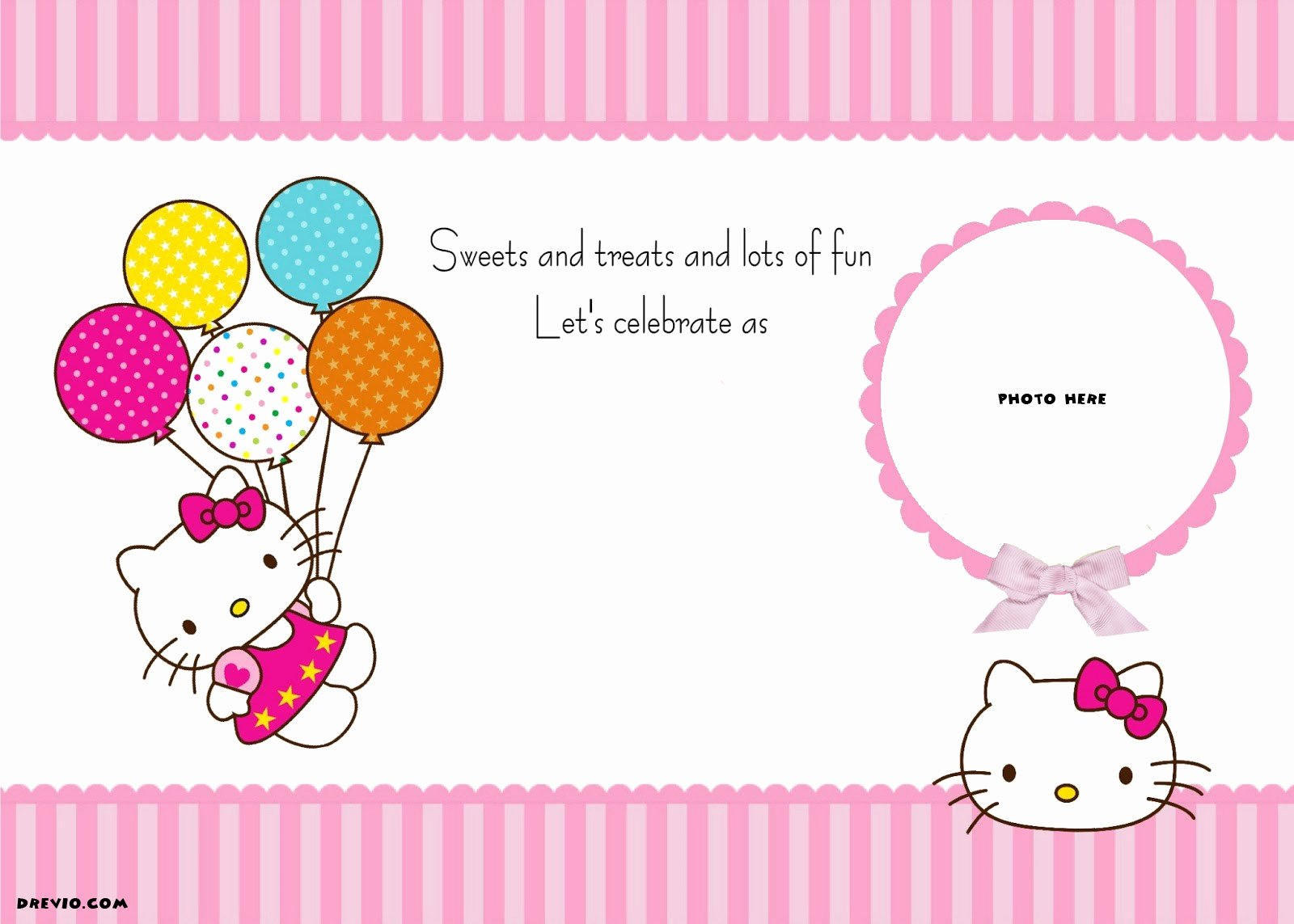 Hello Kitty Invitation Templates Lovely Free Personalized Hello Kitty Birthday Invitations