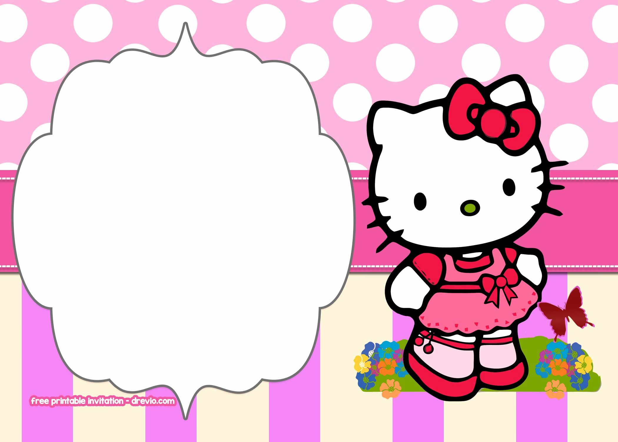 Hello Kitty Invitation Templates Lovely Free Printable Hello Kitty Pink Polka Dot Invitation