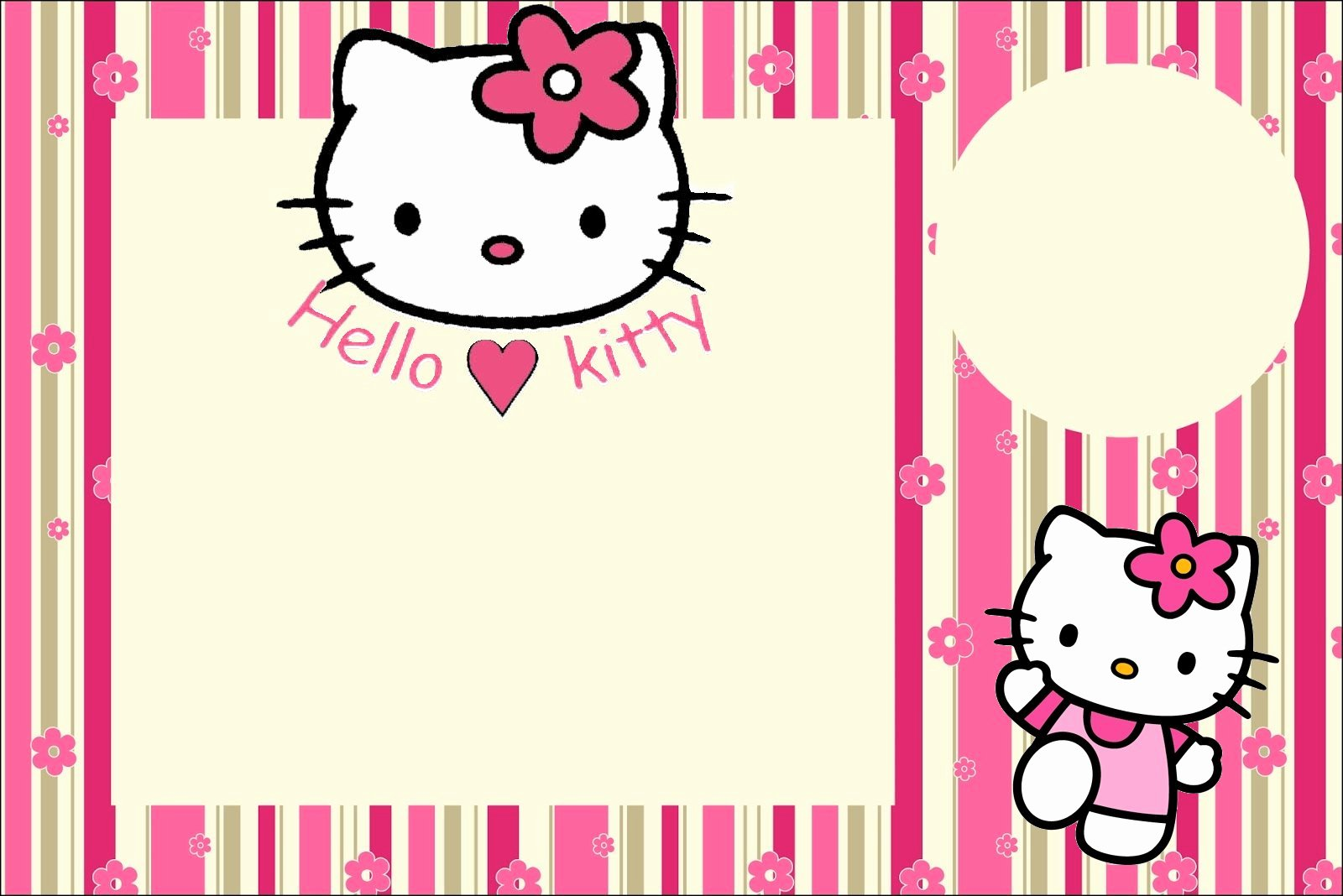 Hello Kitty Invitation Templates New Hello Kitty with Flowers Free Printable Invitations Oh