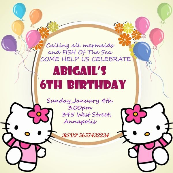 Hello Kitty Invite Template Beautiful Hello Kitty 6th Birthday Invitation Template