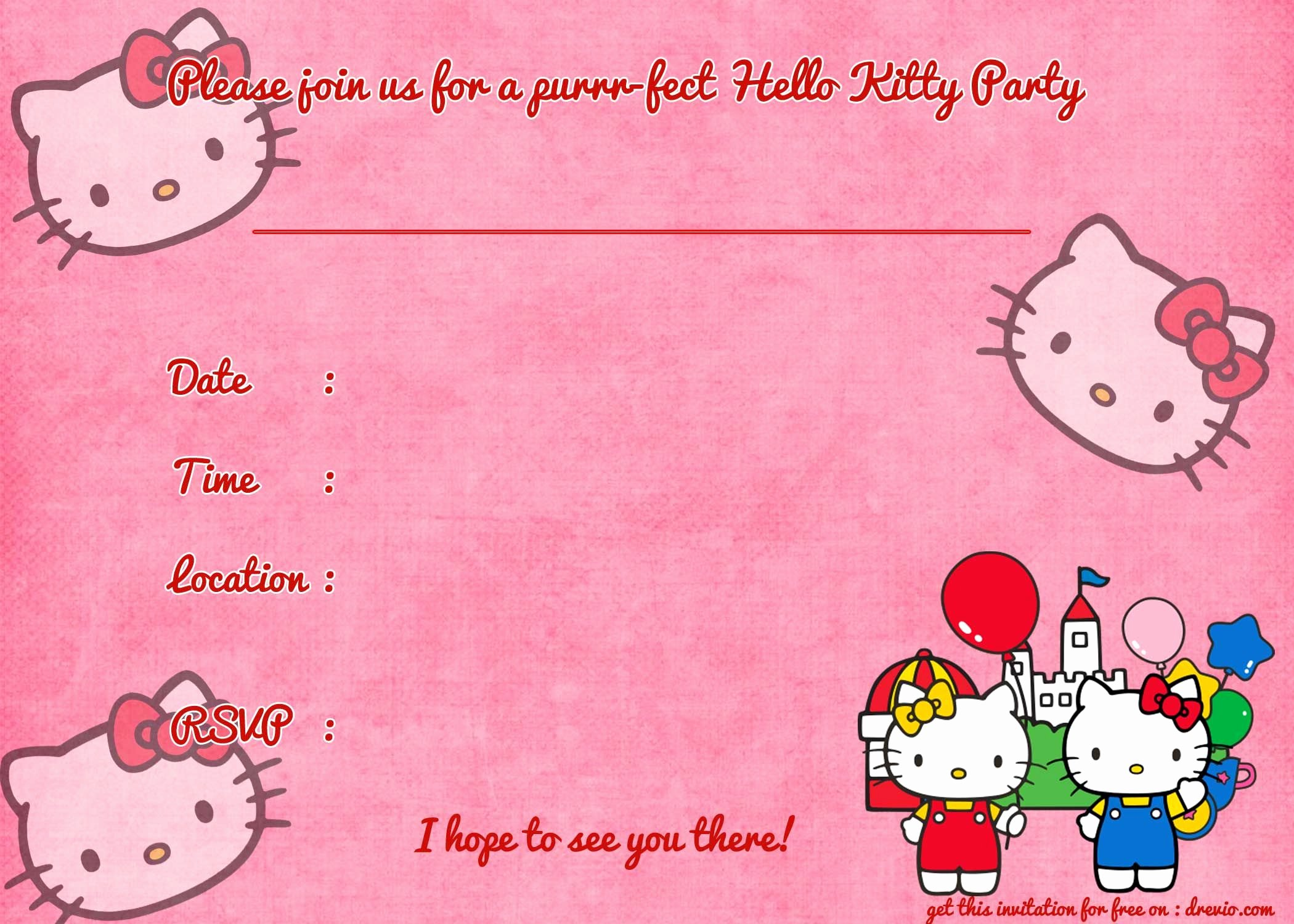 Hello Kitty Invite Template Elegant Nice Printable Hello Kitty Birthday Invitation Template