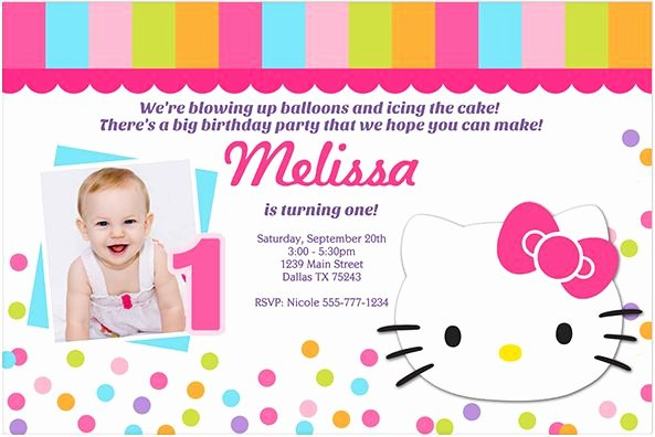 Hello Kitty Invite Template Lovely Download now Free Template Hello Kitty 1st Birthday