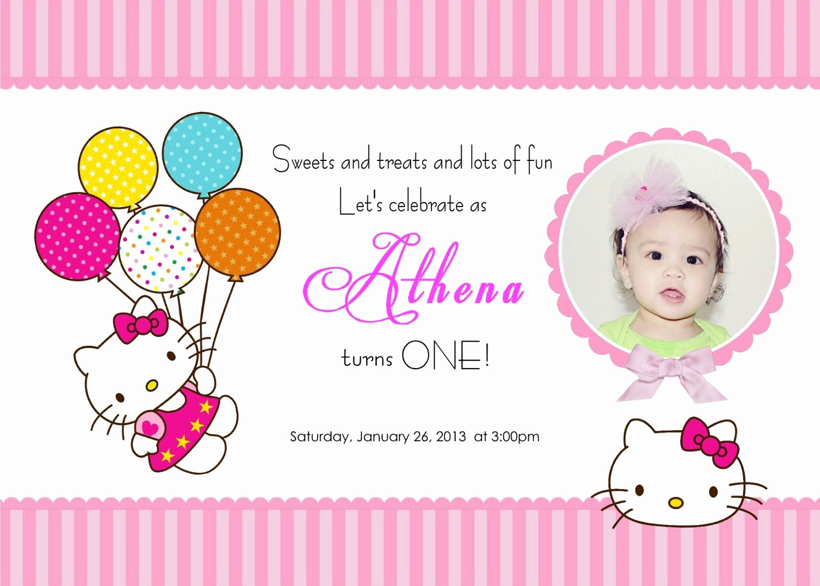 invitation template hello kitty
