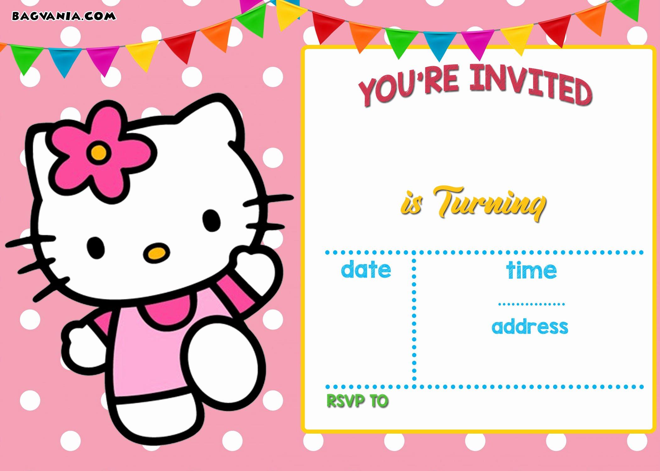 Hello Kitty Invite Template Luxury Free Hello Kitty Invitation Templates