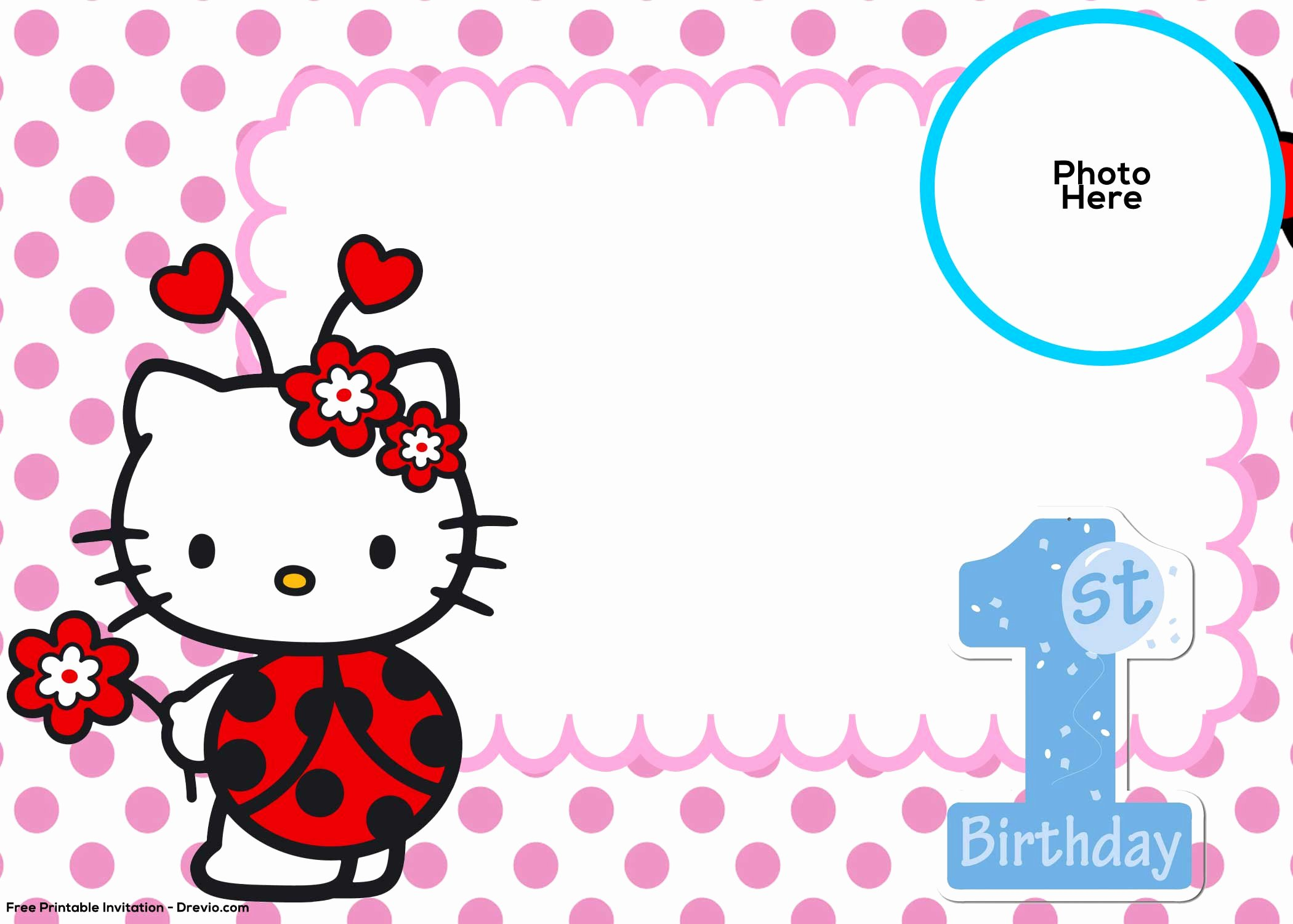 Hello Kitty Invite Template New Free Hello Kitty 1st Birthday Invitation Template