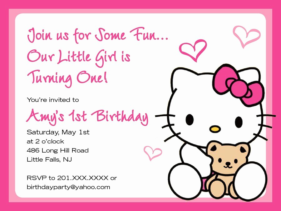 Hello Kitty Invite Template New Hello Kitty Birthday Invitation Cards Free