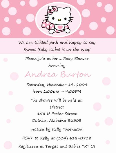 Hello Kitty Invite Template Unique Free Hello Kitty Baby Shower Invitation Template