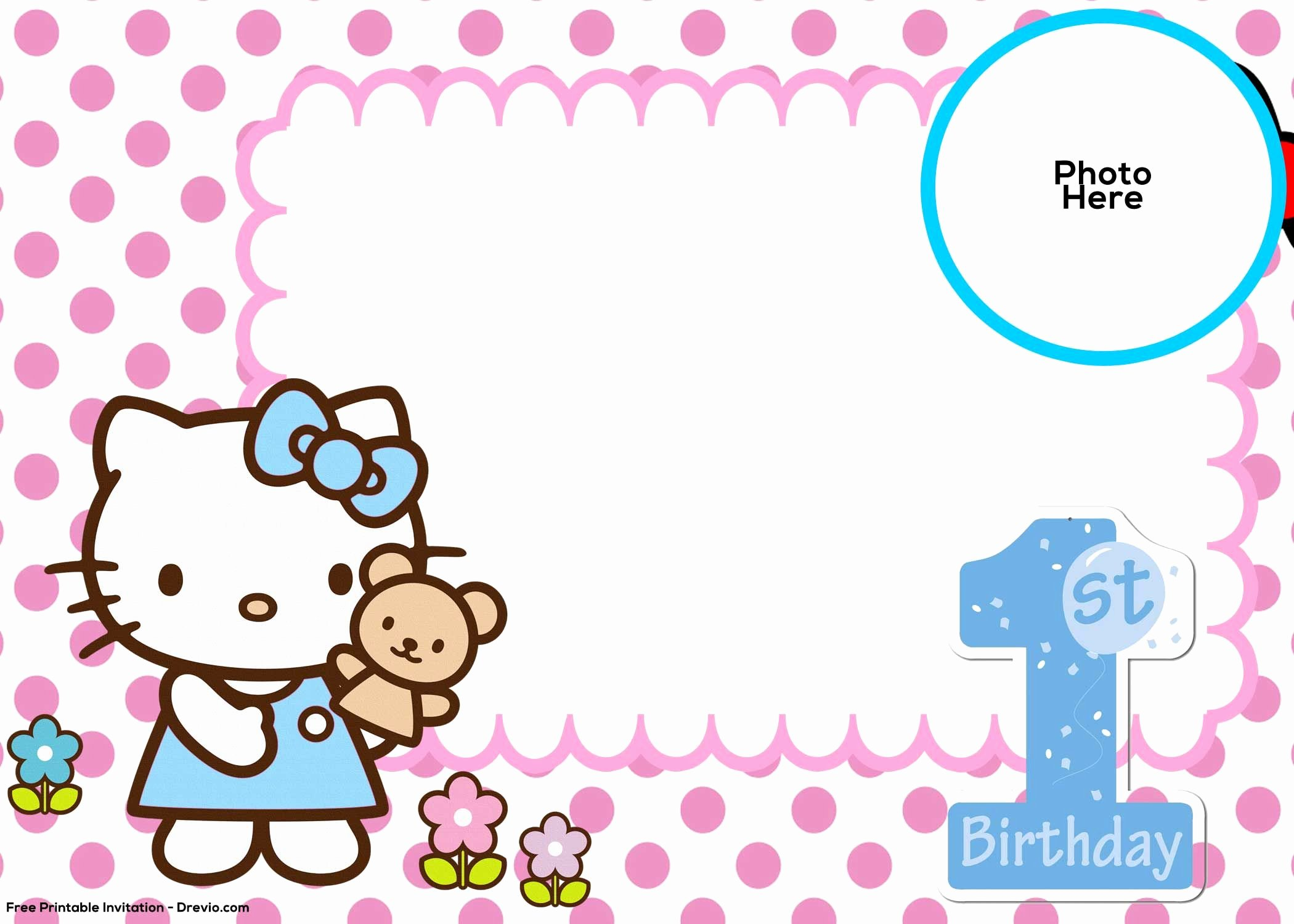 Hello Kitty Invite Templates Elegant Free Hello Kitty 1st Birthday Invitation