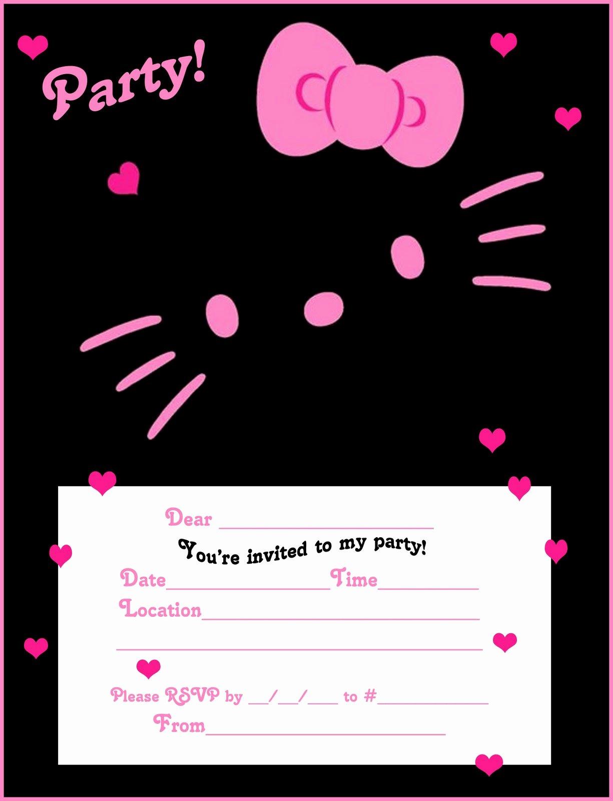 Hello Kitty Invite Templates Elegant Free Hello Kitty Printable Free Party Invites