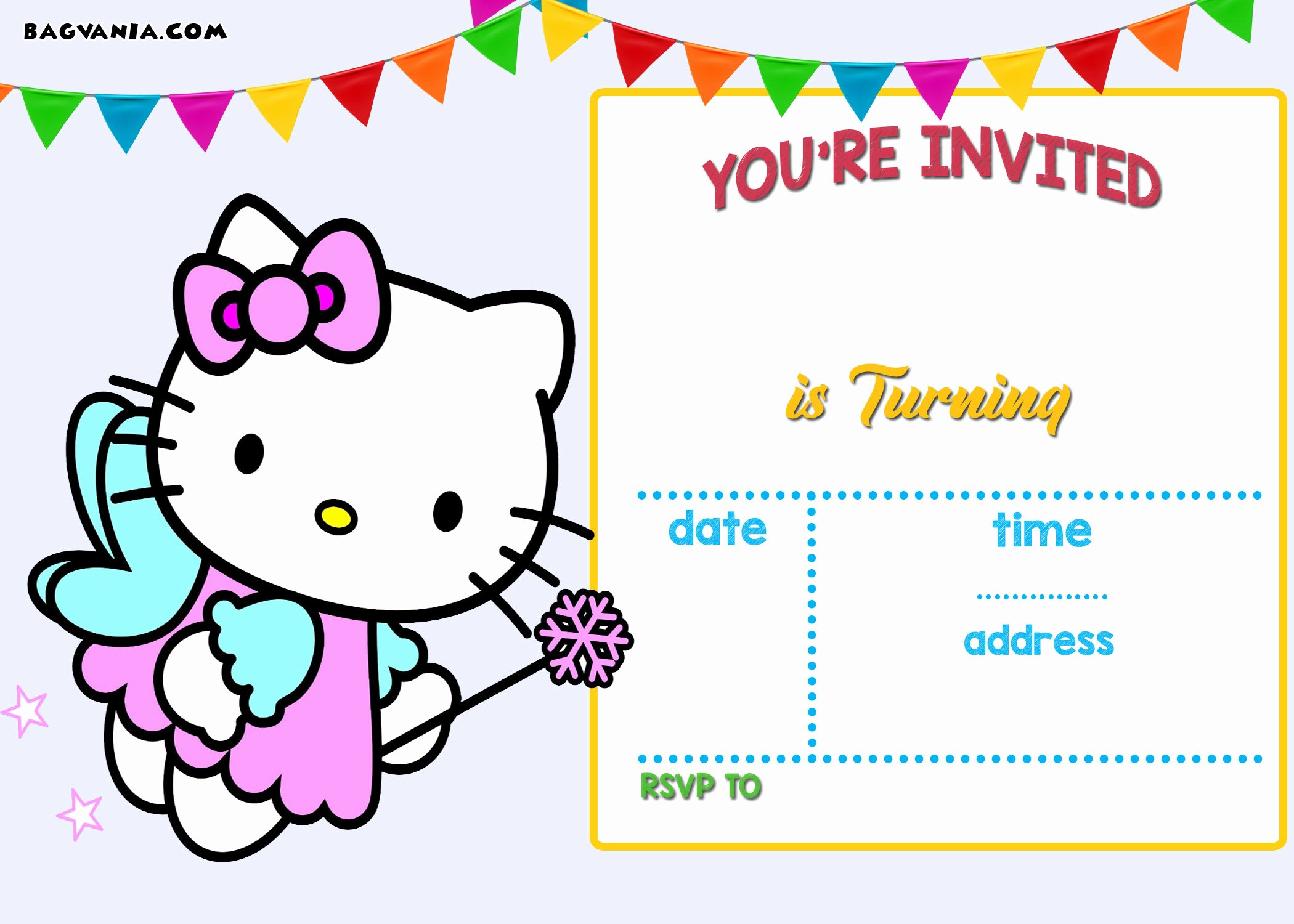 free printable hello kitty birthday invitation wording
