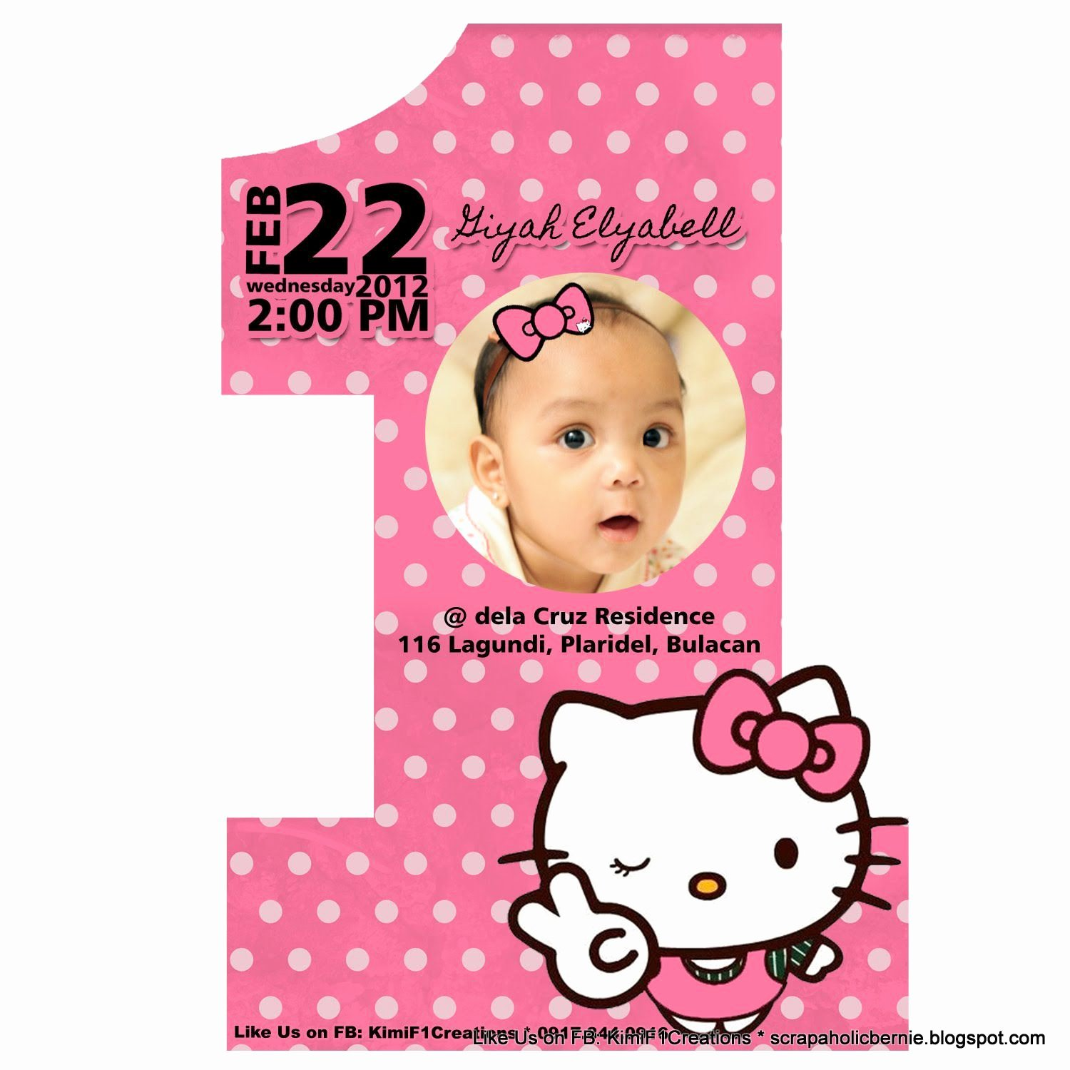 Hello Kitty Invite Templates Unique 1st Birthday and Christening Invitation Templates