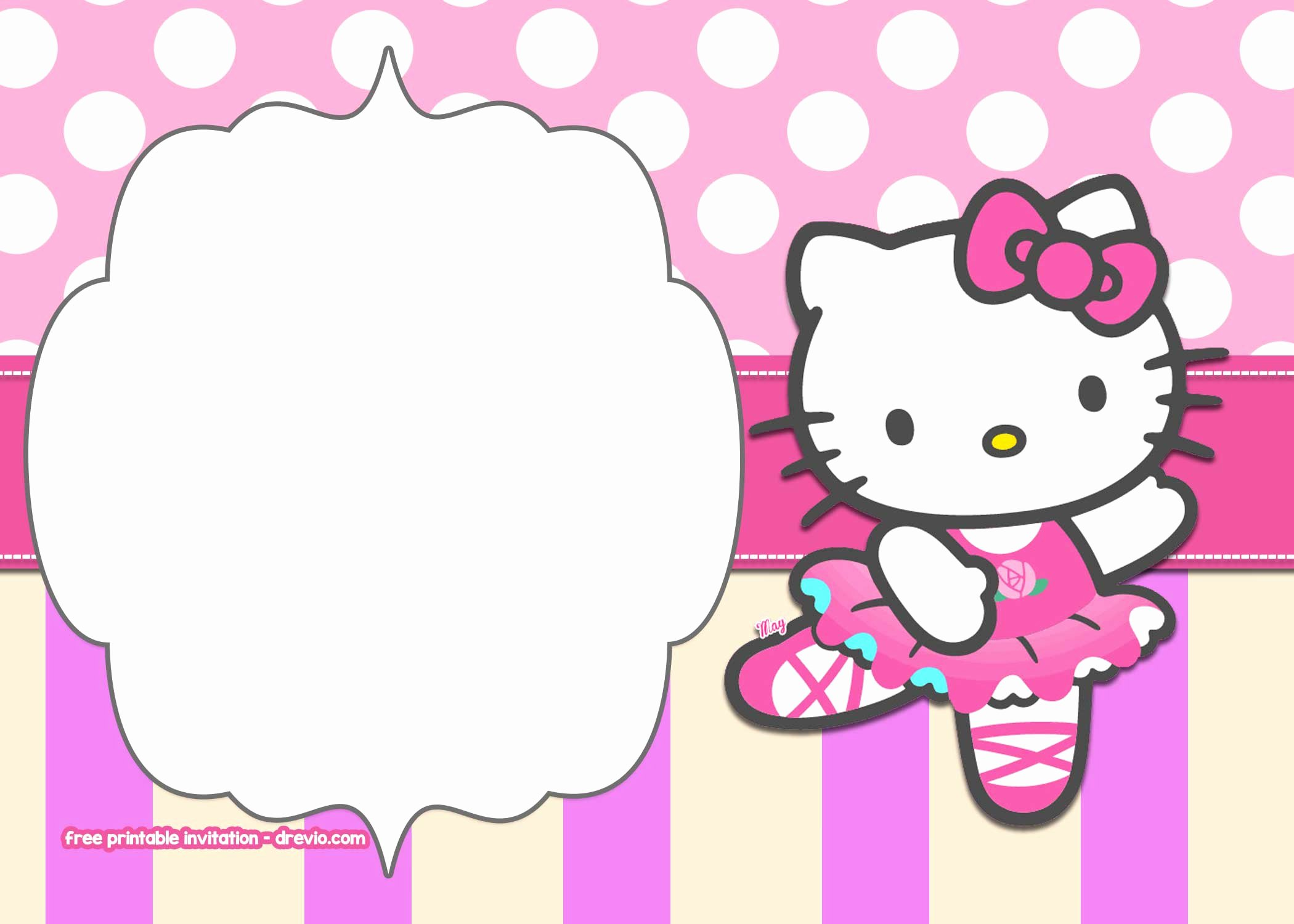 Hello Kitty Invite Templates Unique Free Printable Hello Kitty Pink Polka Dot Invitation