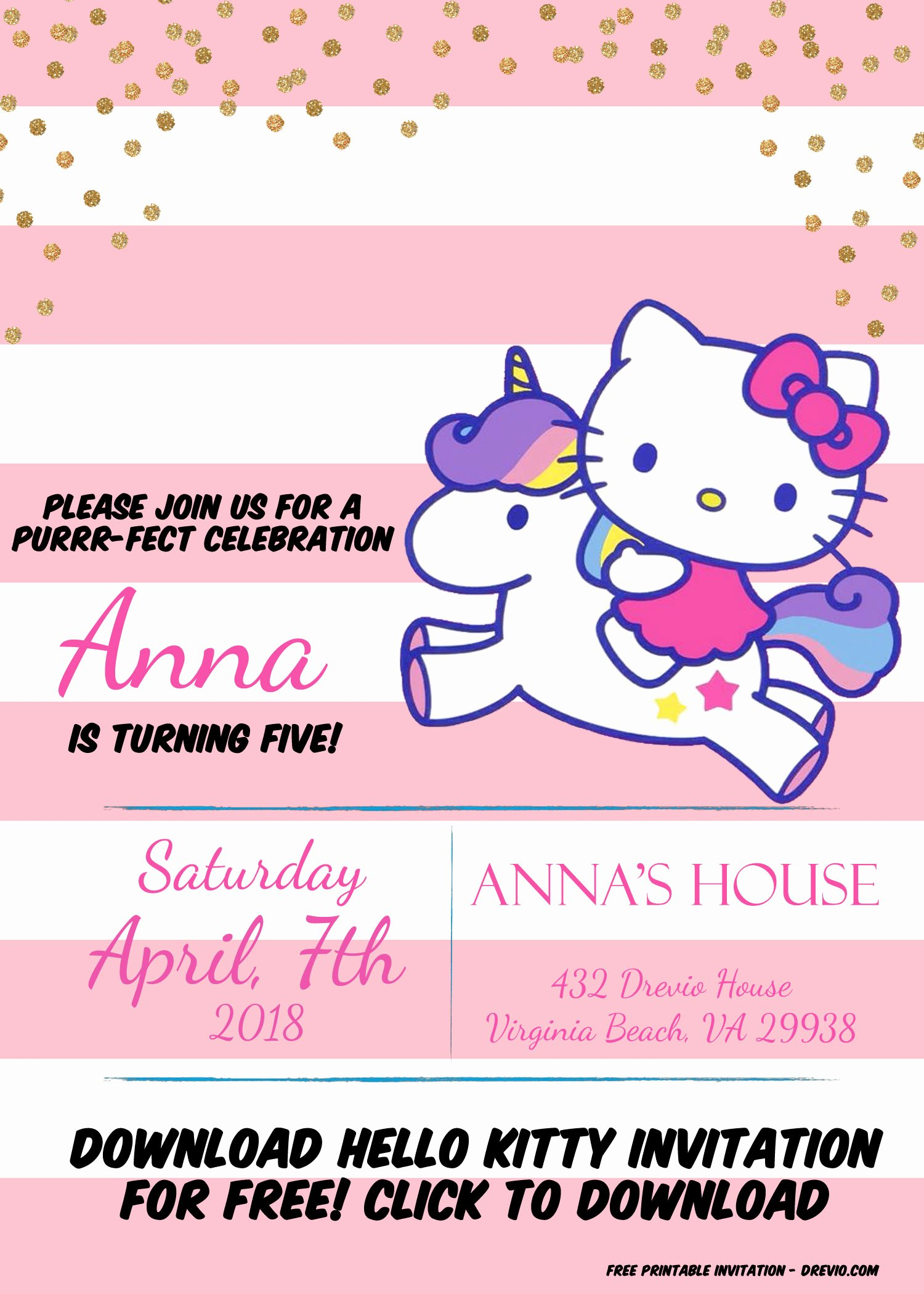 Hello Kitty Party Invite Beautiful Hello Kitty Invitation Template – Portrait Mode
